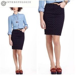 Pilcro and Letterpress Dotted Denim Pencil Skirt